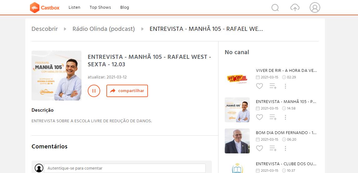 Entrevista no programa Manhã, da Rádio Olinda 105 FM com o Rafael West